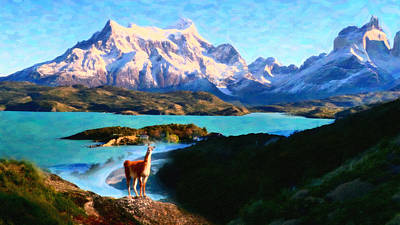 Llamas Painting - Torres Del Paine National Park And The Llama Chile by MotionAge Designs