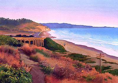 Torreys Painting - Torrey Pines Dusk by Mary Helmreich