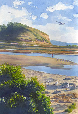 Seagull Painting - Torrey Pines Inlet by Mary Helmreich