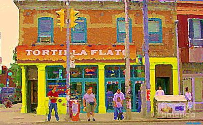 Tortilla Flats Tex Mex Restaurant Paintings Downtown Toronto Cafe Scenes Carole Spandau Art Print by Carole Spandau