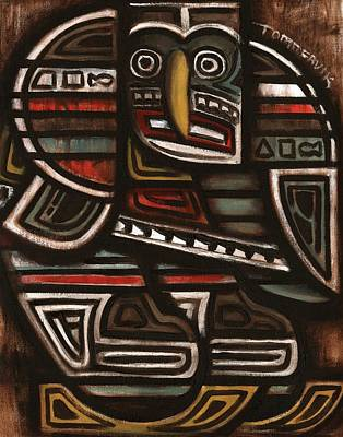 Totem Pole Painting - Tommervik Totem Hockey Player Art Print by Tommervik