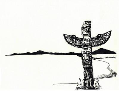 Bear Paw Drawing - Totem Pole by Celine Bain