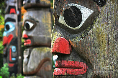 Woodcarving Photograph - Totem Poles by JR Photography
