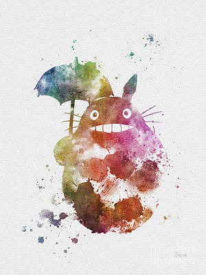 Anime Mixed Media - Totoro by Rebecca Jenkins