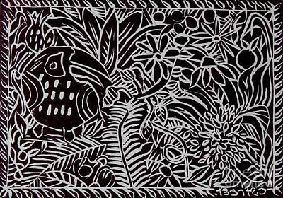 Jungle Scene With Toucan Black  Print by Caroline Street