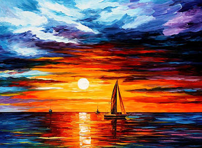Touch Of Horizon - Palette Knife Oil Painting On Canvas By Leonid Afremov Original by Leonid Afremov