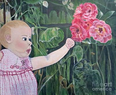Girl With A Pink Dress Painting - Touched By The Roses Cropped I by Kimberlee Baxter