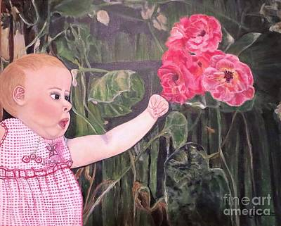 Girl With A Pink Dress Painting - Touched By The Roses Painting by Kimberlee Baxter