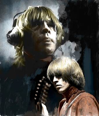 Rolling Stones Drawing - Touchstone Brian Jones by Iconic Images Art Gallery David Pucciarelli