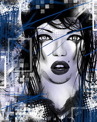 Splatter Mixed Media - Tough Love Blue by Melissa Smith
