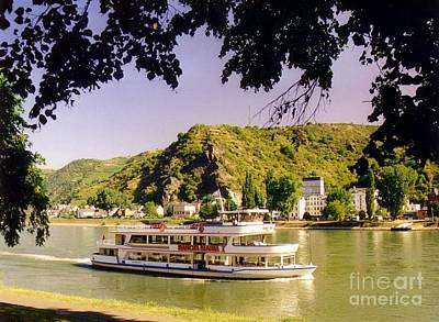 Tour Boat On The River Rhine Print by John Malone