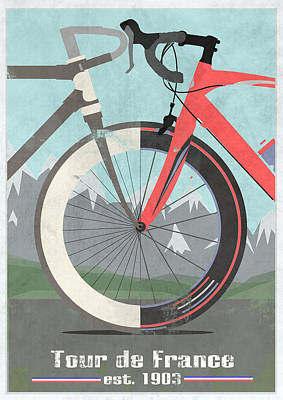 Race Digital Art - Tour De France Bicycle by Andy Scullion