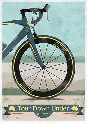 Kangaroo Digital Art - Tour Down Under Bike Race by Andy Scullion