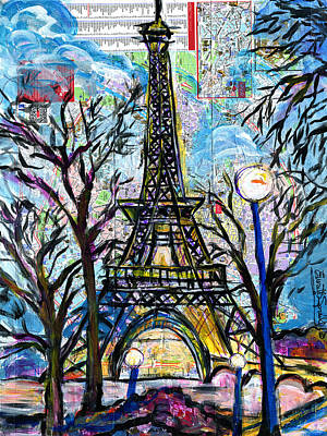 Wynton Marsalis Mixed Media - Tour Eiffel Vue De L'aquarium by Everett Spruill