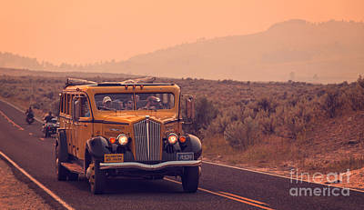 Bus Photograph - Touring Yellowstone by Edward Fielding