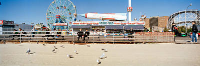 Tourists At An Amusement Park, Coney Print by Panoramic Images