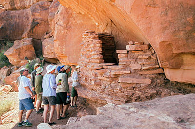 Food Stores Photograph - Tourists At An Anasazi Grain Store by Jim West
