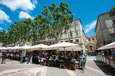 Tourists At Sidewalk Cafes, Place De Print by Panoramic Images