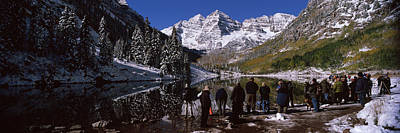 Cold Temperature Photograph - Tourists At The Lakeside, Maroon Bells by Panoramic Images