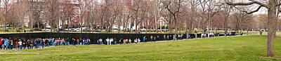Vietnam War Memorial Photograph - Tourists At Vietnam Veterans Memorial by Panoramic Images