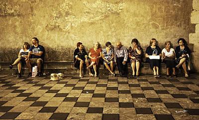 Tourists On Bench - Taormina - Sicily Print by Madeline Ellis