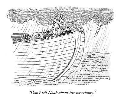 Noahs Ark Drawing - Tourists On Noah's Ark by Mick Stevens