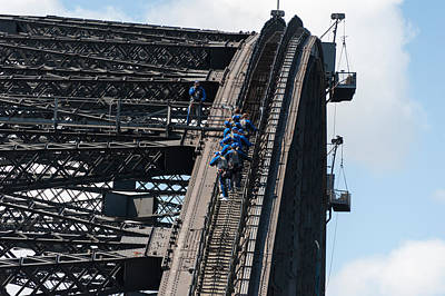Built Structure Photograph - Tourists Strapped Together For Climb by Panoramic Images