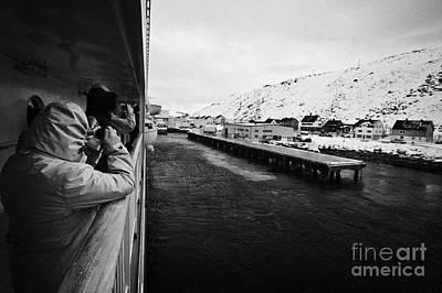 Tourists Taking Photos Of Havoysund Hurtigruten Pier Finnmark Norway Europe Print by Joe Fox