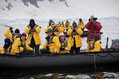 Inflatable Photograph - Tourists Whale-watching In Antarctica by Peter Menzel