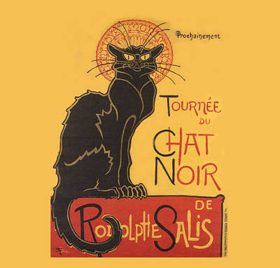 Moggy Drawing - Tournee Au Chat Noir by Theophile Steinlen