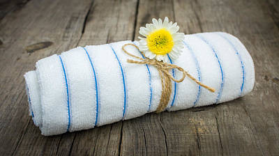 Unwind Photograph - Towel With A Flower by Aged Pixel