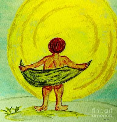 Child Painting - Toweling At The Moon by Eloise Schneider