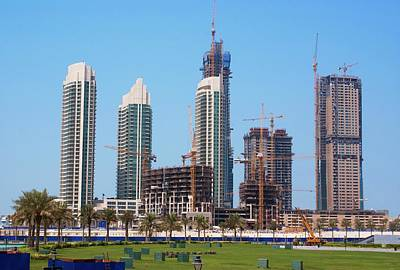 Crane Photograph - Tower Block Construction In Dubai by Mark Williamson