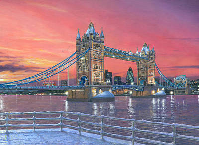 Water Tower Painting - Tower Bridge After The Snow by Richard Harpum