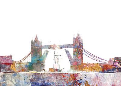 Tower Of London Digital Art - Tower Bridge Colorsplash by Aimee Stewart