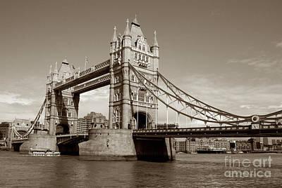 Kate Middleton Photograph - Tower Bridge - Sepia by Heidi Hermes