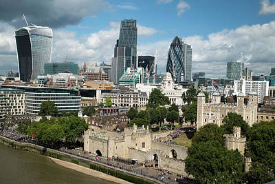 Tower Of London And City Skyscrapers Print by Mark Thomas
