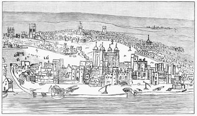London Drawing - Tower Of London, C1543 by Granger