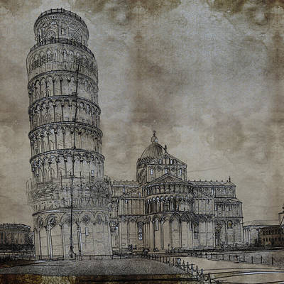 Historical Buildings Painting - Tower Of Pisa Italy Sketch by Celestial Images