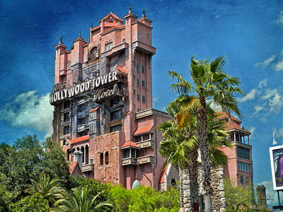 Merchandise Mixed Media - Tower Of Terror Disney World Textured Sky by Thomas Woolworth