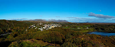 Connemara Photograph - Town On A Hill With 12 Pin Mountain by Panoramic Images