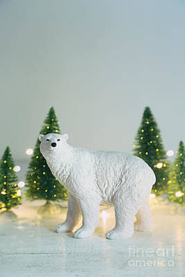 Toy Polar Bear With Little Trees And Lights Print by Sandra Cunningham