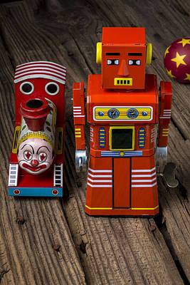 Toy Robot And Train Print by Garry Gay