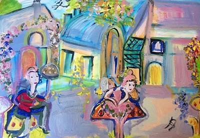 Toy Shop Painting - Toy Town Mushroom Bus Stop by Judith Desrosiers