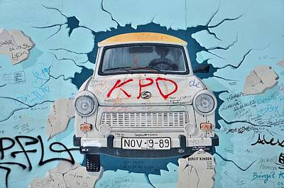 Trabant On The Berlin Wall Print by Gynt