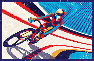 Blue And Red Painting - Track Cyclist by Sassan Filsoof