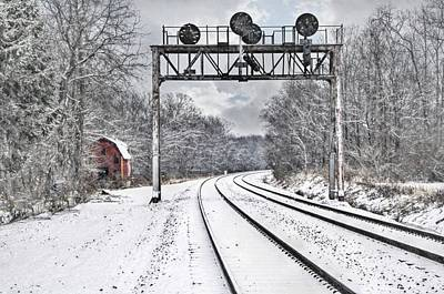 Train In The Winter Photograph - Tracks In The Snow by Stephanie Calhoun