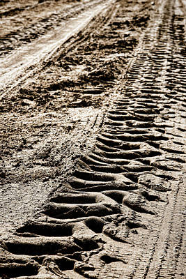 Machinery Photograph - Tractor Tracks In Dry Mud by Olivier Le Queinec