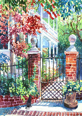 Charleston Houses Painting - Tradd Street Tradition by Alice Grimsley