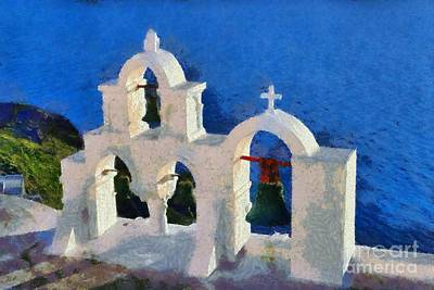 White Painting - Traditional Belfry In Oia Town by George Atsametakis